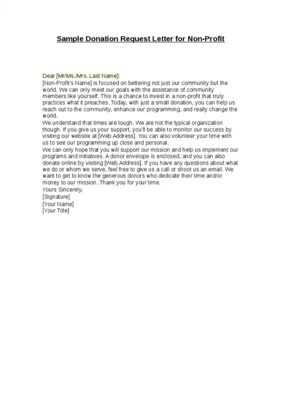 sample donation request letter for non profit
