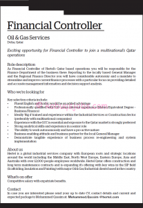 sample email for job application financial controller required in qatar