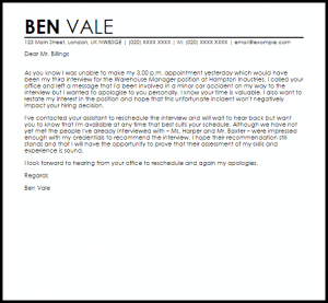 sample email to hiring manager apology letter for missing interview