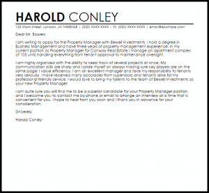 sample email to hiring manager property manager