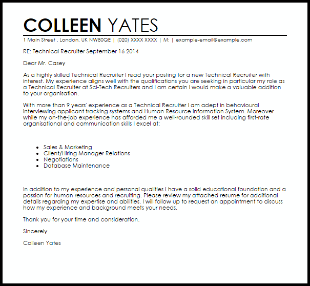 Cover Letter To Send To Recruitment Agency: Sample Email To Hiring Manager