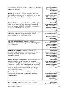 sample employee evaluation hotel front desk supervisor performance appraisal