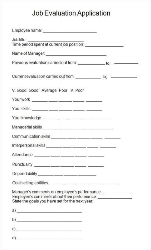 sample employee evaluation