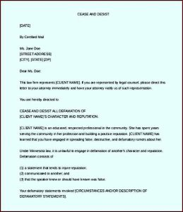 sample employment contract cease and desist letter defamation free word download