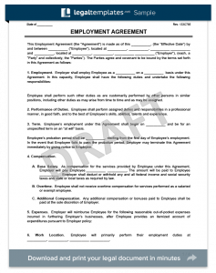 sample employment contract employment agreement form template