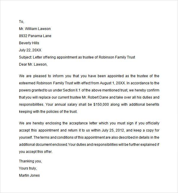 sample employment offer letter