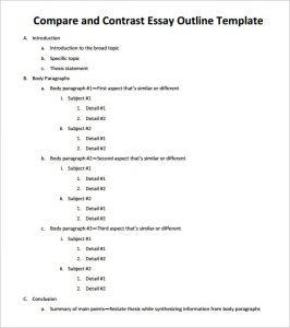 sample essay outline sample compare and contrast essay outline pdf download