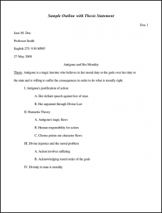 sample essay outlines sample outline with thesis statement