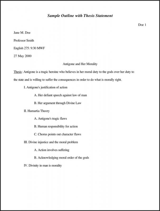 sample essay outlines
