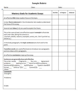 sample essay outlines sample rubric