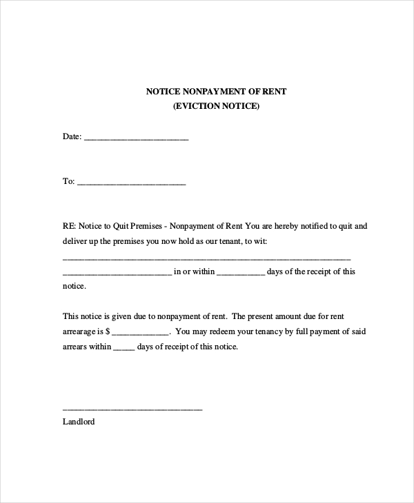 sample eviction notice for nonpayment of rent