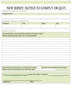 sample eviction notice for nonpayment of rent new jersey notice to quit word x