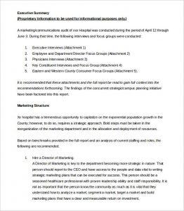 sample executive summary sample market executive summary template free download