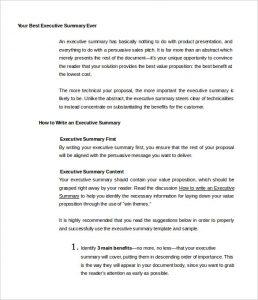sample executive summary your best executive summary ever template free sample