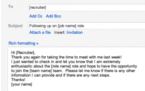 sample follow up email after interview status screen shot at am