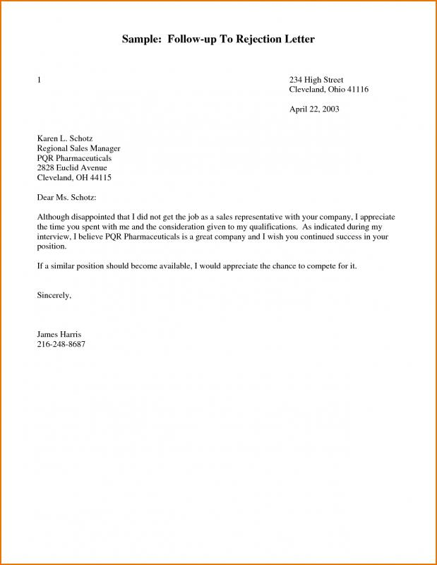 sample follow up letter for job application status