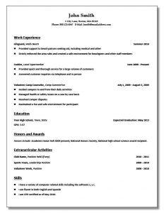 sample high school resume high school student resume templates no work experience