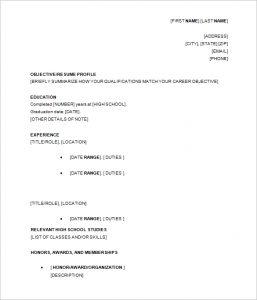 sample high school resume resume template high school student academic