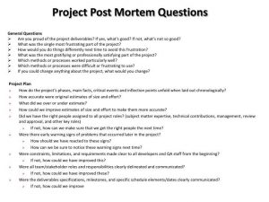 sample incident report project post mortem questions n