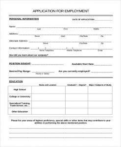 sample job application sample job application form