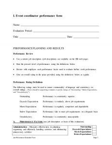 sample job descriptions event coordinator performance appraisal