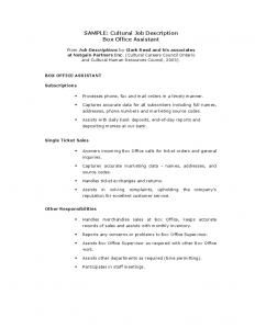 sample job descriptions sample cultural job description box office assistant