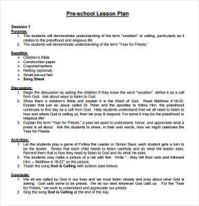 sample lesson plans sample preschool lesson plan template