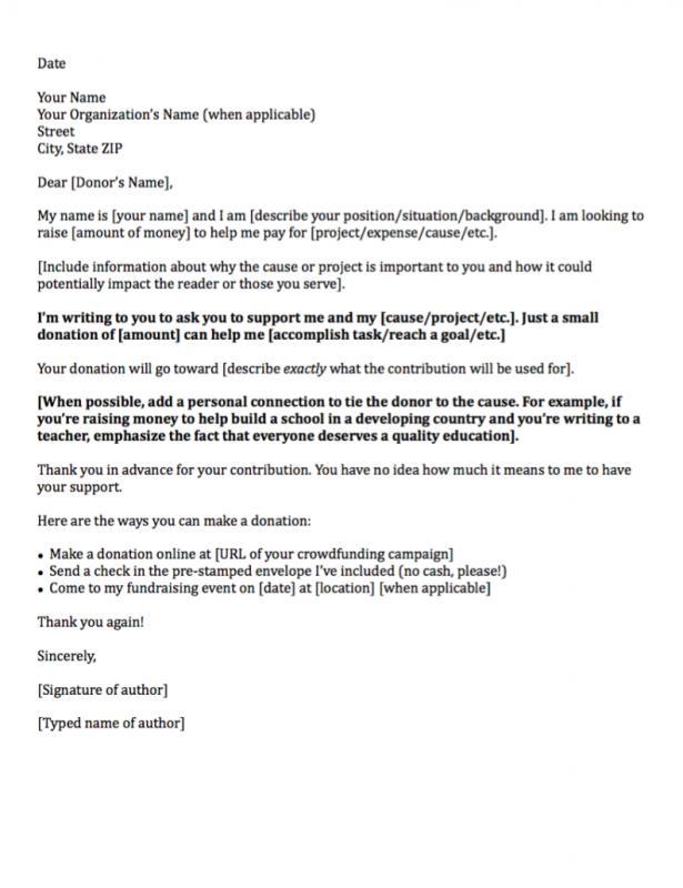 sample letter asking for donation