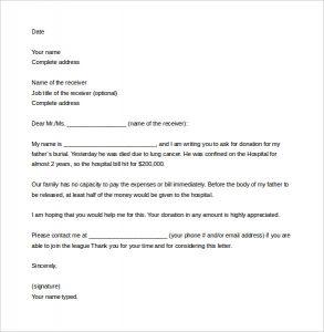 sample letter asking for donation sample solicitation letter for donations for death word download