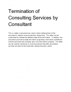 sample letter for termination of services nass termination of consulting services by consultant