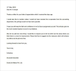 sample letter of employement professional thank you letter of appreciation