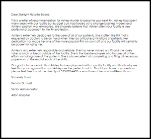 sample letter of employment rn recommendation letter