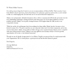 sample letter of recommendation employment 1