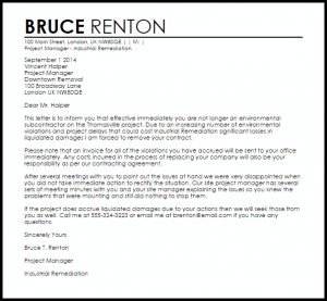 sample letter to tenant for damages subcontractor termination letter