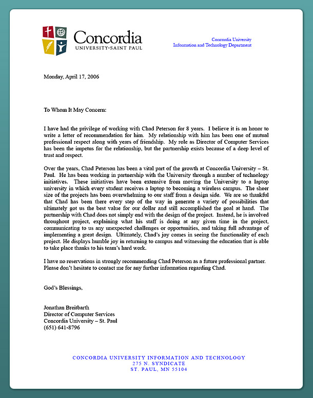 sample letters of recommendation for students