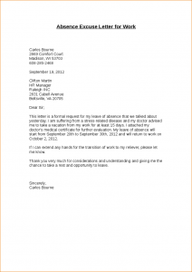 sample medical letter from doctor to employer absence excuse letter absence excuse letter for work