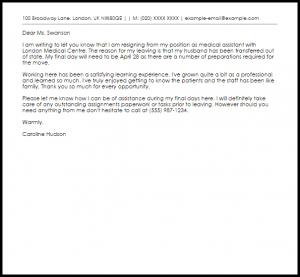 sample medical letter from doctor to employer medical assistant resignation letter