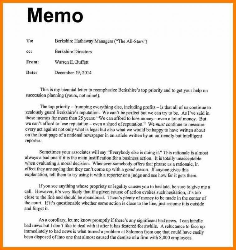 sample memo format