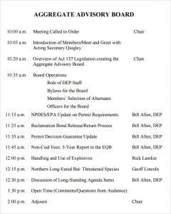 sample minutes of meetings advisory board meeting agenda
