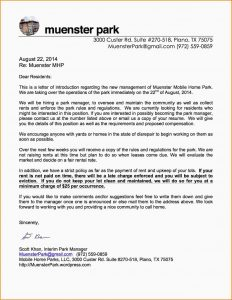 sample mission statement letter to management letter to residents new management
