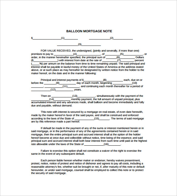 sample mortgage note