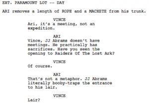 sample movie script s entourage