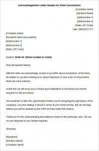 sample nonprofit gift acknowledgement letter acknowledgement letter sample for order cancellation