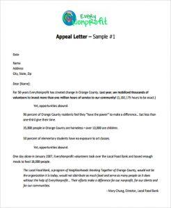 sample nonprofit gift acknowledgement letter appeal fund letter format