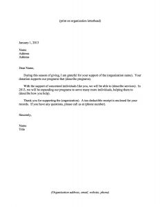 sample nonprofit gift acknowledgement letter year end thank you letter
