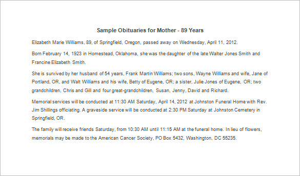 sample obituary for mother