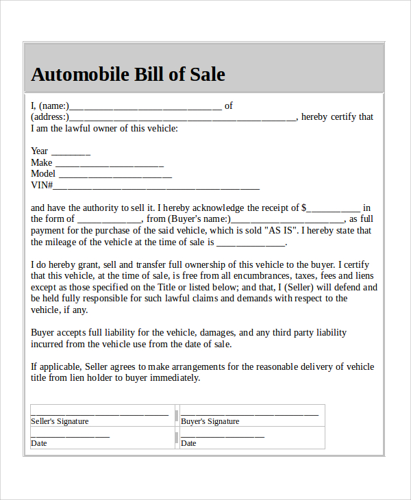 Bill Of Sale Example >> Sample Of Bill Of Sale Template Business