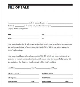 sample of bill of sale carscom vehivle bill of sale of car