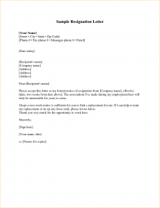 sample of business letter week notice resignation