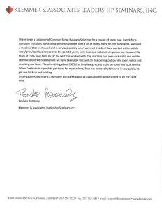 sample of business letters klemmer testimonial letter